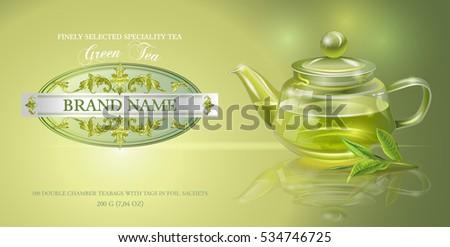 vector green tea banner with