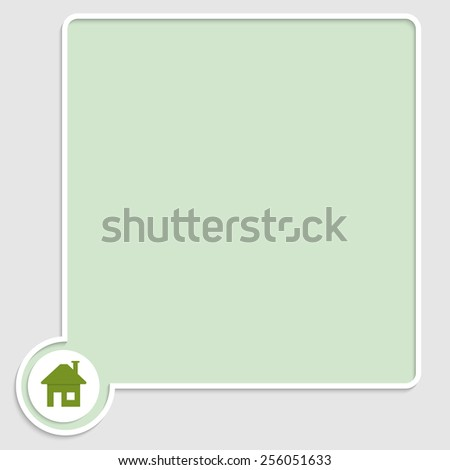 vector green text box with home