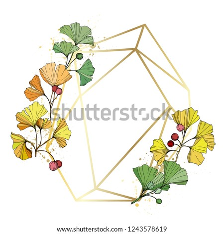 Vector. Green, yellow and orange ginkgo leaf. Leaf plant botanical garden floral foliage. Frame golden crystal. Geometric quartz polygon crystal stone polyhedron mosaic shape amethyst gem.