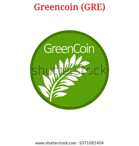 Vector Greencoin (GRE) digital cryptocurrency logo. Greencoin (GRE) icon. Vector illustration isolated on white background.