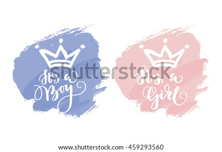 Vector greeting card. Baby shower card. Baby announcement card design element. It's a boy lettering, it's a girl lettering. Baby shower party design element.