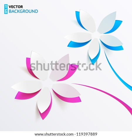 Vector greeting card background with derived paper flowers