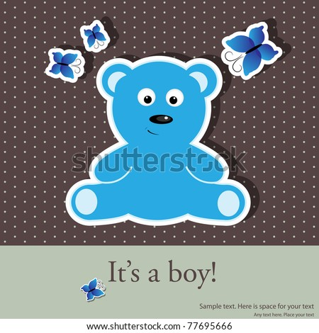 Vector greeting card for baby boy shower