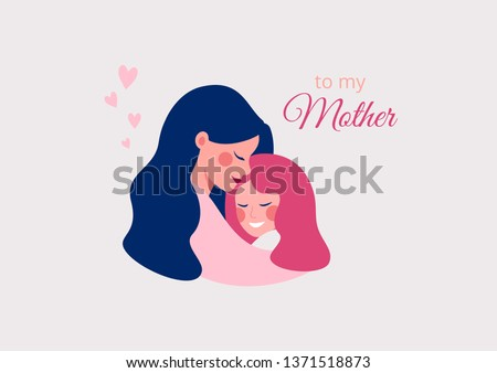Vector greeting card for Happy Mother's day of Cute young mother embracing her daughter with love.