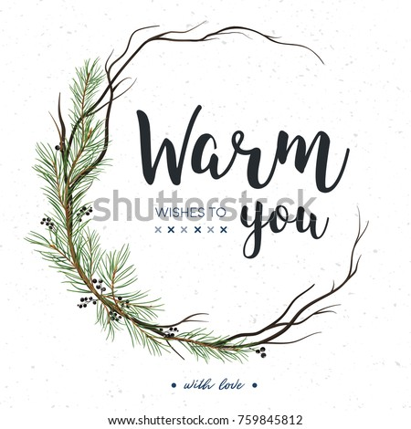 Vector greeting card, invite: Pine tree greenery, brown branches, Green spruce needles & black berry round wreath garland border, frame. Cute watercolor illustration. Merry Christmas copy space design