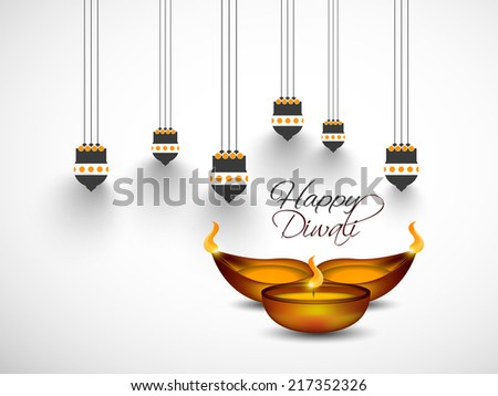 Vector greeting card or background flyer brochure magazine cover for Diwali festival with Hanging Kandil and oil lamp can be used for print and publishing
