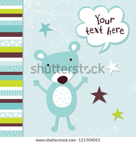 Vector greeting card template for a baby girl with cute teddy bear and speech bubble. Great for birthday, baby shower, Christening, baptism, Thank You, party invitations, social media, web banner