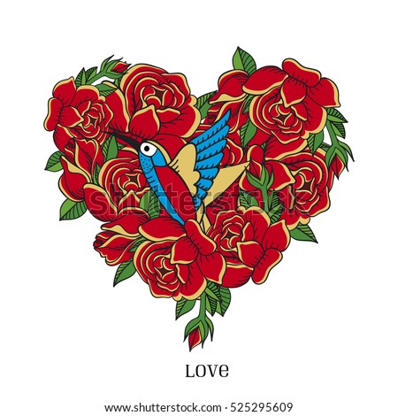 Vector greeting card template. Heart of bright red roses and bird.