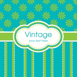 Vector greeting card template. Vintage floral print, striped panel and text frame. For baby, birthday, Mother's Day, Easter, wedding, thank you, menu, dinner party invitation, stationery.