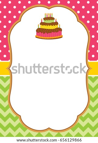 Vector greeting card template with a cake and candles for invitations, birthdays, parties, anniversaries with a space for your text. Background with polka dot and chevron. Vector illustration.