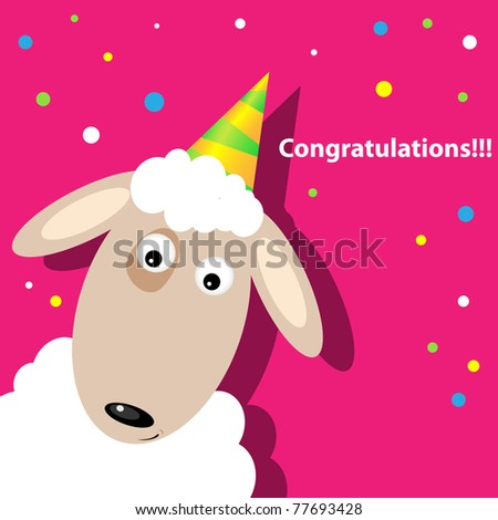 Vector greeting card with a sheep