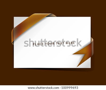 vector greeting card with blue corners banners design.