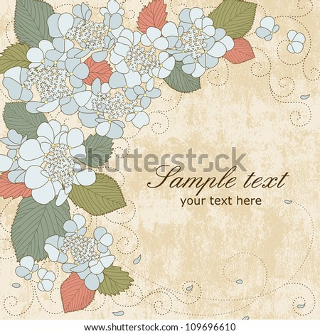 Vector greeting card with blue hydrangea flowers in pastel colors