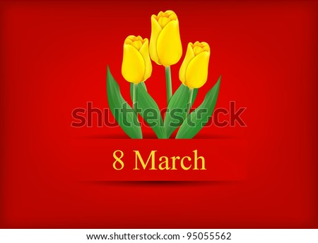 vector greeting card with bouquet of tulips, may be used as a Women's Day backdrop