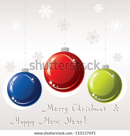 vector greeting card with christmas balls
