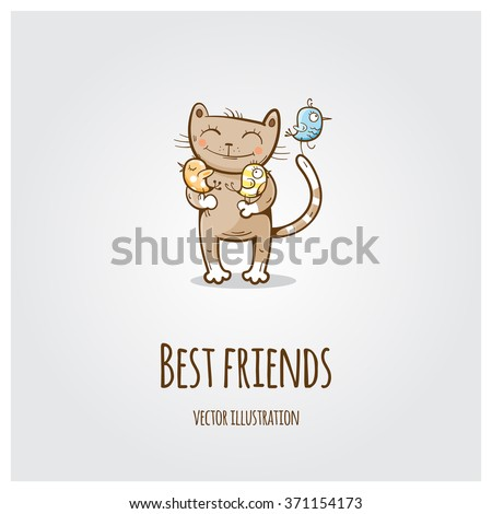 vector greeting card with cute