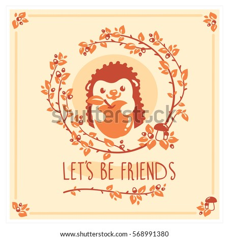 Vector Greeting Card With Cute Hedgehog And Apple Birthday Greeting