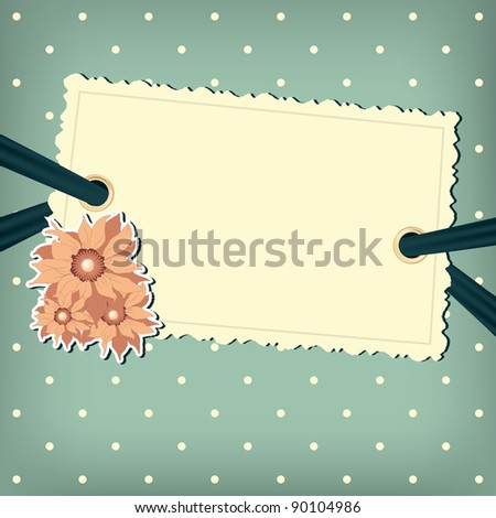 Vector greeting card with flower. Polka dots background