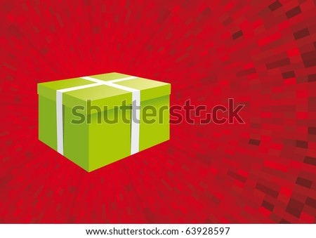 Vector Greeting card with green gift box on red background