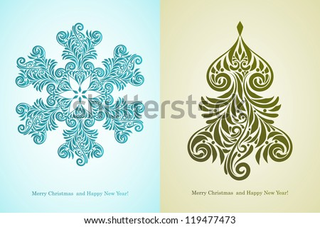 "vector greeting card with ""Merry Christmas and Happy New Year!"" greetings, fully editable eps 8 file with AI standard font ""century"""