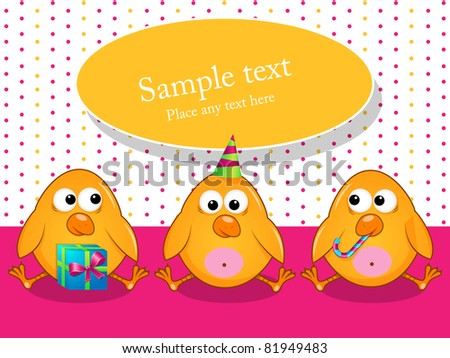 Vector greeting card with poults