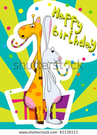 Vector greeting card with rabbit and giraffe