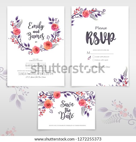 Vector greeting cards with roses and berries, can be used as invitation card for wedding, birthday and other holiday, easy to make other patterns and sets #1272255373