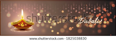 Vector greeting of Happy Diwali, Dipawali, Indian festival, festival of lights, diya lamp, oil lamp, diya danglers, patterns, colorful bokeh background, vector illustration banner, holiday wishes post Stock photo ©