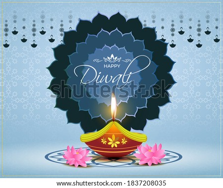 Vector greeting of Happy Diwali, Dipawali, Indian festival of lights, danglers, diya, oil lamp and lotus on beautiful pattern, holiday wishes poster. Stock photo ©