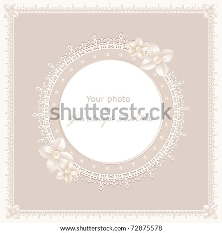 vector greeting wedding frame for photo with a bow pearls and lace