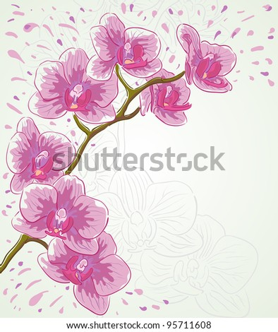 Vector greetings card for holiday with orchid flowers.