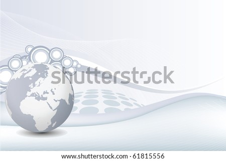 Vector Grey Business Background with earth globe