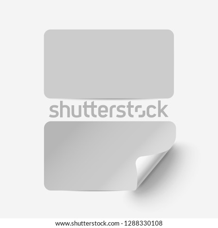 Vector grey realistic paper adhesive stickers with curved corner on transparent background. #1288330108