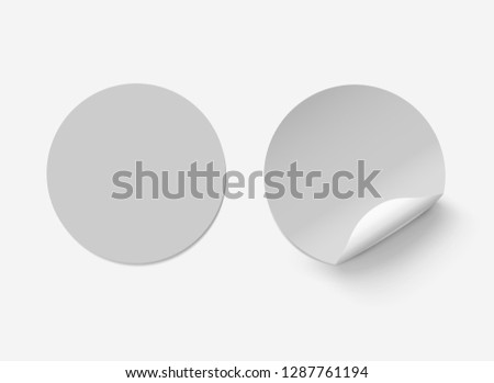 Vector grey realistic round paper adhesive stickers with curved corner on transparent background. #1287761194