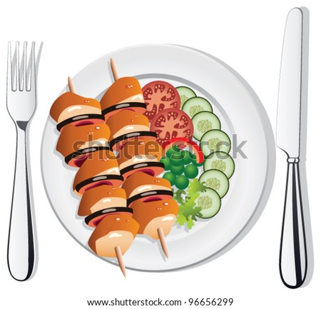 vector grilled chicken or fish, vegetables on the plate with fork and knife