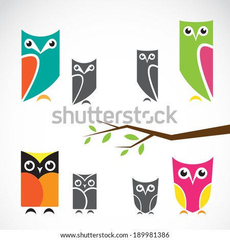 Vector group of owls and branch on white background