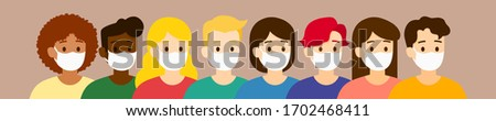 Vector group of people with mask protect them from COVID-19, illustration