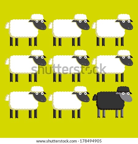 vector group of  white sheep