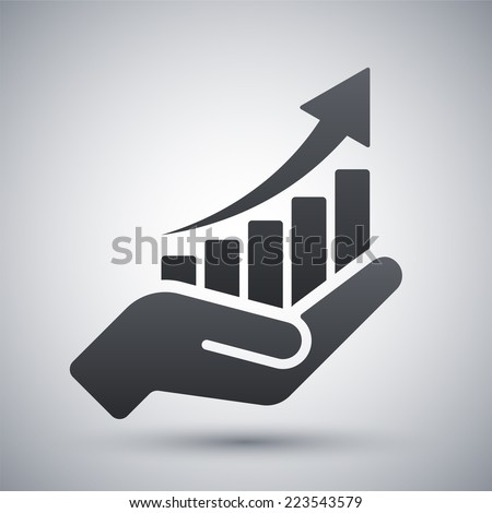 vector growing graph icon on...