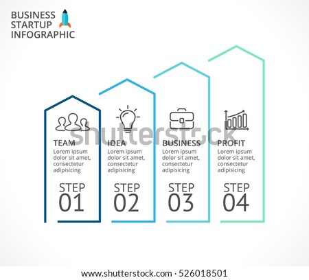 Vector growth arrows infographic, flat diagram, linear graph, presentation, up stairs chart. Business performance and success concept with 4 options, parts, steps, processes.