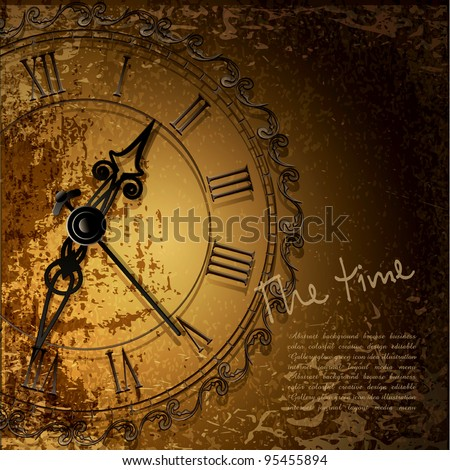Vector grunge abstract background with antique clocks - stock vector