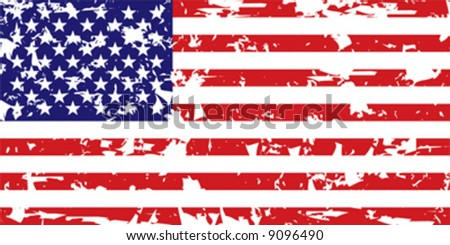Vector grunge American flag - stock vector