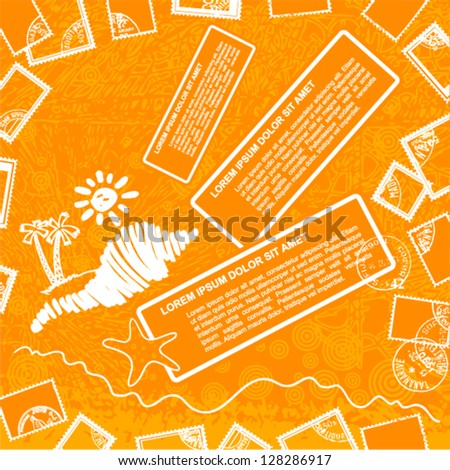 Vector grunge art - orange background with sun and postage stamps