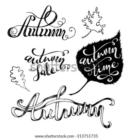 vector grunge autumn lettering
