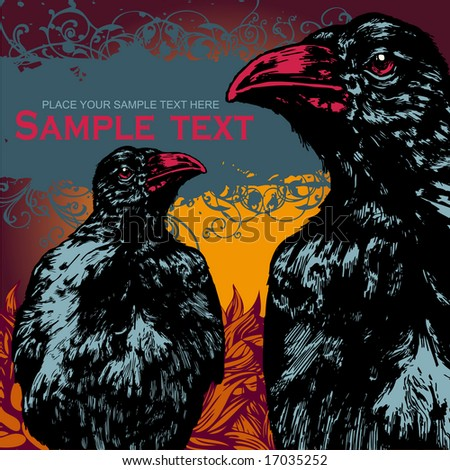 vector grunge background fith ravens. for CD cover