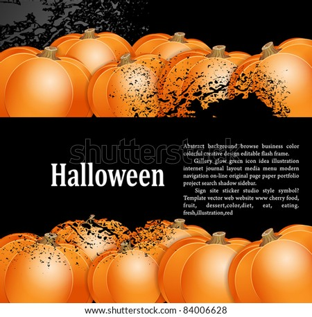 vector, grunge background for holiday Halloween with pumpkins