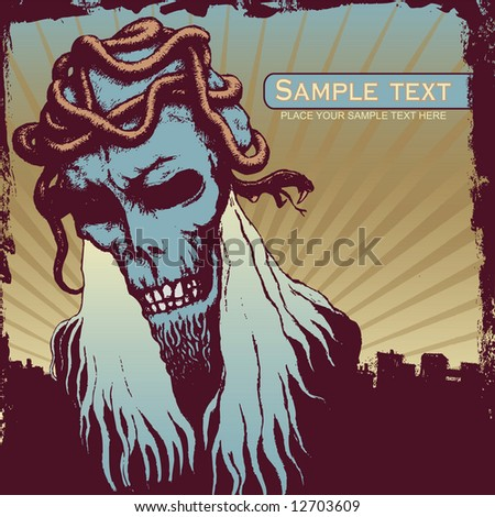 vector grunge background with a evil and serpents. for CD cover - stock vector