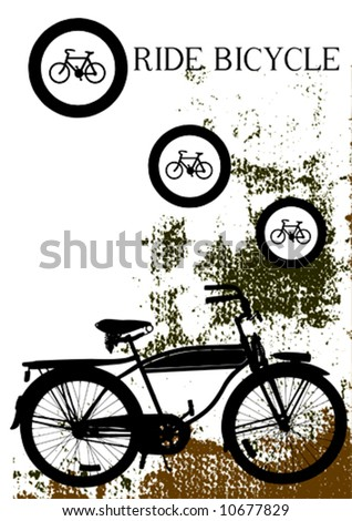 vector grunge background with bicycle silhouette