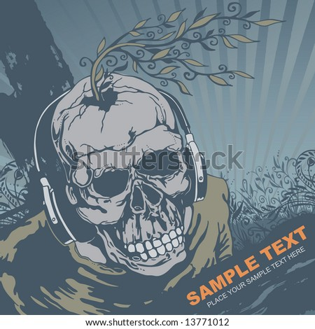 vector grunge background with skull DJ, vector illustration. - stock vector