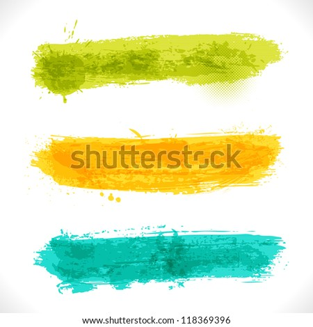 Vector Grunge Banners. Multicolored Art Three Backgrounds.